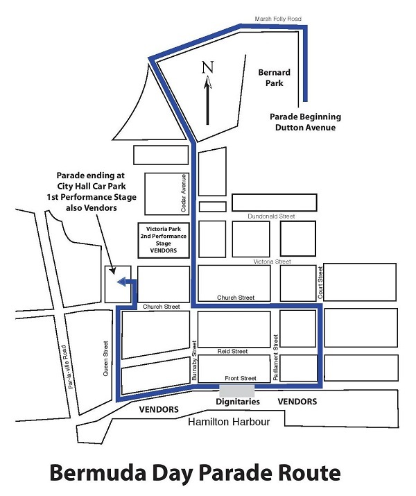 Bermuda Day Parade Route