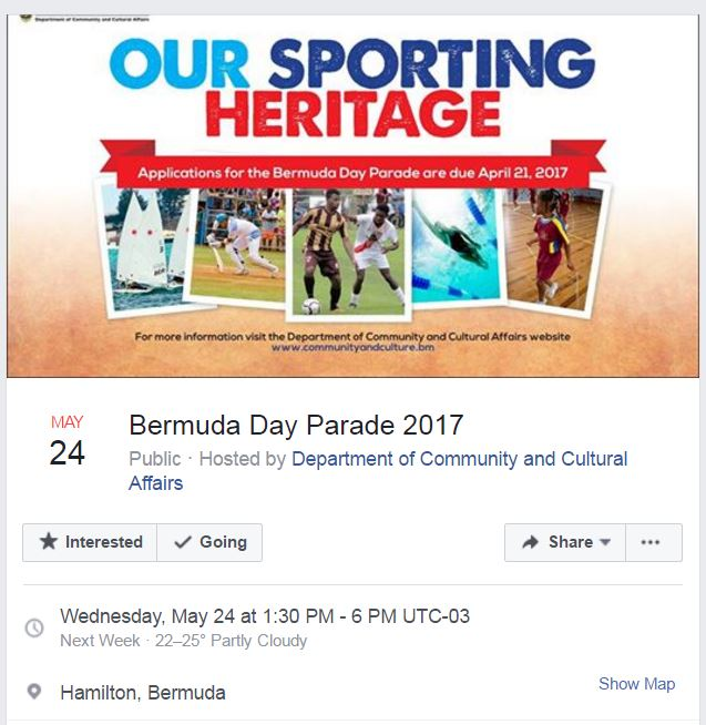 Bermuda Day Parade 2017 FB Event