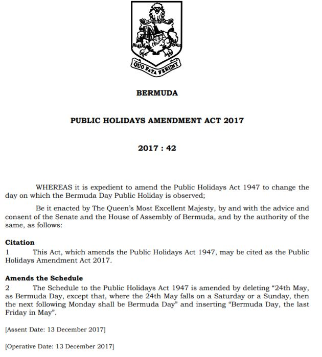 PUBLIC HOLIDAYS AMENDMENT ACT 2017